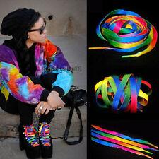 2Paar Regenbogen Flache Schnürsenkel Shoelaces Bänder für Sneakers Schuhe Hot201