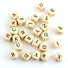 50pcs Wooden Cubic Beads Spacer 26 Letters DIY Bracelet Jewelry Beaded Findings