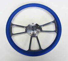 "14"" Blue Grip Billet Steering Wheel Nice Wheel Polished Adapter Shallow Dish"