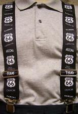 "Suspenders 2""x48"" FULLY Elastic Get Your Kicks Route 66"