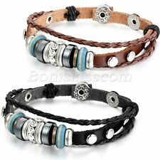 2pcs Men Women Tribal Handmade Braided Leather Straps Beaded Bracelet Wristband