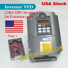 【USA Stock】 2.2KW 220V 3HP Inverter VFD Variable Frequency Drive&Extension Cable