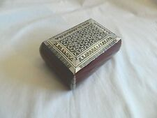 """Egyptian Inlaid Mother of Pearl Jewelry Wood Bomba Box 5.75""""X 3.75"""""""