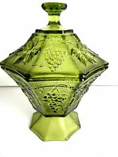 Harvest Grape Green Covered Candy Dish Compote Jar Depression Glass Textured VTG
