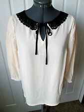 DISNEY'S Snow White by Lauren Conrad Med Novelle Peach Peter Pan Lace Collar TOP