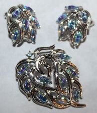 TRIFARI signed SILVER TONE AND AB PIN AND EARRING SET-EXCELLENT JAW DROPPING!!!