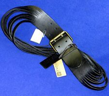 NEW LINEA PELLA LEATHER BELT NEIMAN MARCUS STRIPS WOMENS BLACK