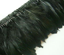 F282 PER 30cm-Black Goose Duck Swan Hackle feather fringe Trim Brooch Material