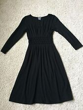 NWOT Ann Taylor Black Long Sleeve Smocked Waist Knit Dress 0P