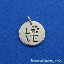 .925 Sterling Silver LOVE PAW PRINT CHARM Pet Animal Lover PENDANT *NEW*
