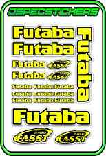 FUTABA RC STICKERS A5 SHEET R/C PLANE CAR BUGGY HELI REMOTE CONTROL YELLOW BLACK