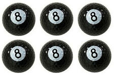 6x Eight Ball Golf Balls - Billiard Pool Novelty 8 Balls Gift - Bulk Lot - NEW!