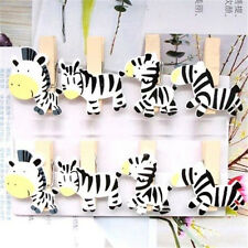 FD1742 Kawii Cute Zebra Wood Lined Clothes Clip Pins Wooden Photo Clips ~8PCs~ A