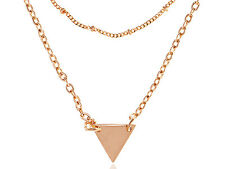 Women Fashion Jewelry Rose Gold Stainless Steel Chain Triangle Necklace Pendant
