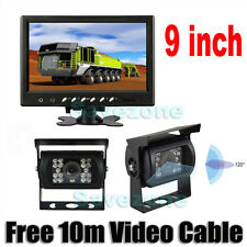 "2x Car Reversing Camera 18LED IR + 9"" LCD Monitor for Bus Trailer Rear View Kit"
