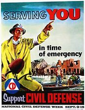 CIVIL DEFENSE CD FLOOD POSTER 1956 SIZE 11X14 Inches = 27.94X35.56 Centimeters