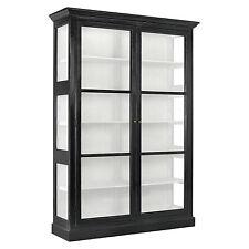NELLY,Vitrine groß schwarz-weiß Landhausstil Glastüren Schrank Vitrine shabby