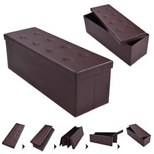 "45""x15""x15"" Large Folding Storage Faux Leather Ottoman Pouffe Box Stool Brown"