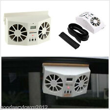 Built-in Battery Rechargeable Solar Autos Front Window Dual Fan Air Vent Cooler