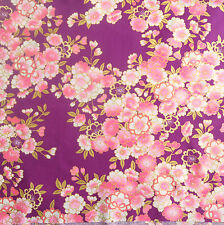 [Precut] 48x55cm Sakura Floral Purple Cotton Japanese Fabric - PC773