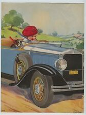 Roaring 20's Convertible Automobile Print Baby Boy & Dog Driving by Twelvetrees