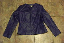 womens newport news blue leather zip front coat size 10