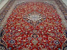 10X14 1960's AUTHENTIC FINE HAND KNOTTED S-ANTIQUE KORK WOOL KASHAN PERSIAN RUG