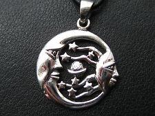 Mondanhänger mit Sternen 925'er Silber + Lederband Mond Anhänger / KA 773