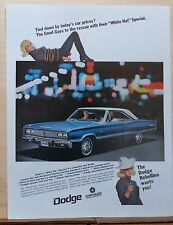 1967 magazine ad for Dodge - blue Coronet 440, Tied Down by car prices?