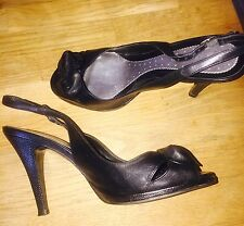 River Island Black Heals, Sling Back Peep Toes, Good Condition! Size 5