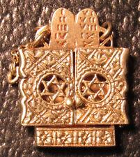 Vintage 14k Yellow Gold Jewish Star Of David Pendant W/ Scroll Charm 6.1 Grams