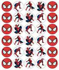 30 x topper di Spiderman per cupcake wafer commestibile Carta Fata Cake Topper