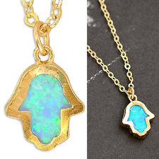Gold Filled 14k Necklace Opalite Hamsa Pendant Designer Charm Lady Warranty New