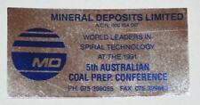 Retro Sticker - Mineral Deposits Limited - 1991 5th Aust Coal Prep. Conference