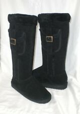Wet Seal knee high boot black with pocket trim furry lining sz 9 Med NEW