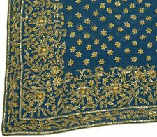 Vtg Saree 100% Pure Georgette Silk HEAVY Embroidered Hand Beaded Fabric Blue
