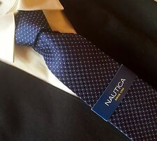 NAUTICA TIE Collection  NAVY BLUE WHITE  DOTS