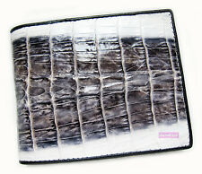 BLACK&WHITE CROCODILE ALLIGATOR TAIL SKIN LEATHER MEN'S CLASSIC BIFOLD WALLET