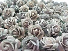 100 Cute Handmade Mulberry Paper Roses - 10mm - Shades of Silver Grey Rose!