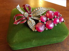 Vintage Silver Pink Fuchsia Thermoset Moonglow Lucite Enamel Flower Brooch 7j 20