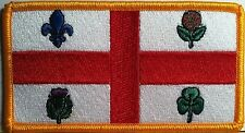 MONTREAL Flag Embroidered Iron-On Patch Canada Military Emblem Gold  Border