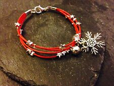 Silver Plated Star Cord Bracelet Pendant Charms Christmas Snowflake Red