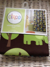 CIRCO JUNGLE BROWN GREEN FABRIC SHOWER CURTAIN, ALLIGATOR TOOTHBRUSH HOLDER NWT