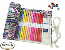 CreooGo Canvas Pencil Wrap Pencils Roll Case Pouch Hold For 72 Coloured Penci...