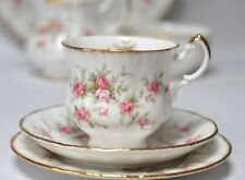 Paragon Victoriana Rose Vintage English China Pink White Teacup Saucer Trio