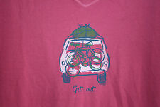 NWT LIFE IS GOOD GET OUT TRAVEL women's 100% cotton t-shirt. Large.Dusty pink