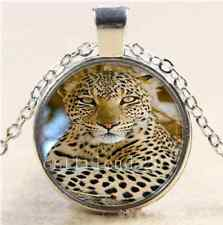 Animal Leopard  Cabochon Photo Glass Tibet Silver Chain Pendant Necklace