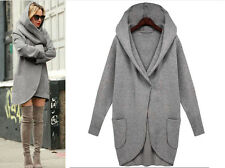 UK Women Woolen Warm Ladies Tops Casual Long Jacket Hooded Coat Outwear Overcoat