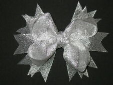 """NEW """"METALLIC SILVER"""" Sparkly Hairbow Alligator Clips Girls Ribbon Bows 4.5 Inch"""