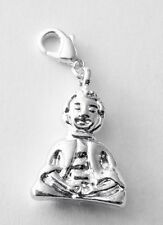 BEAUTIFUL SILVER PLATE BUDDHA CLIP ON CHARM- FOR BRACELETS - SILVER PLATE 925